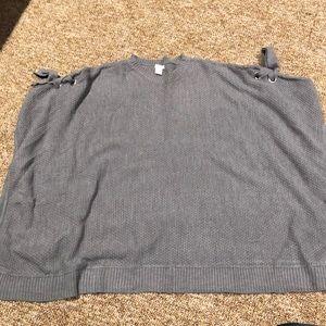 Gray oversized poncho
